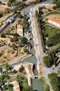Canal du Midi Fonséranes aerial view| near cottage La Salsepareille